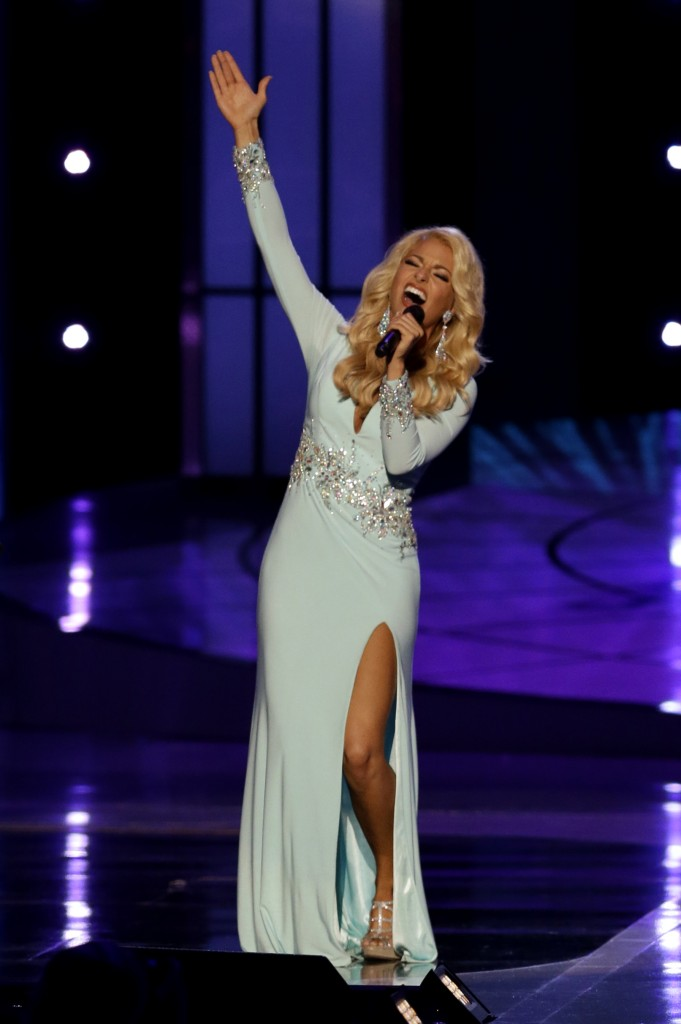 Miss Tennessee Hayley Lewis sings during the talent portion of the Miss America 2015 pageant, Sunday, Sept. 14, 2014, in Atlantic City, N.J. (AP Photo/Mel Evans)
