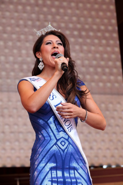 CHICAGO - AUGUST 27:  Miss Illinois Marisa Buchheit performs during the Jackie Robinson West U.S. Little League World Series Championship rally at Millennium Park on August 27, 2014 in Chicago, Illinois. (Photo By Raymond Boyd/Getty Images)