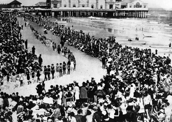 "FILE- This 1921 file photo shows Miss America beauty contestants on Atlantic City's seafront for the first Miss America Beauty Pageant. The pageant was won by 16-year-old marbles champion Margaret Gorman of Washington, D.C. With critics hailing ""Boardwalk Empire,"" the HBO series set in Prohibition-era Atlantic City, as perhaps the best of the fall TV season, the 12-episode series will keep Atlantic City in the nation's consciousness far longer and better than any ad could. (AP Photo/File)"