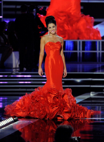 LAS VEGAS, NV - JANUARY 12: Megan Ervin, Miss Illinois, competes in the evening gown competition during the 2013 Miss America Pageant at PH Live at Planet Hollywood Resort & Casino on January 12, 2013 in Las Vegas, Nevada. (Photo by David Becker/Getty Images)