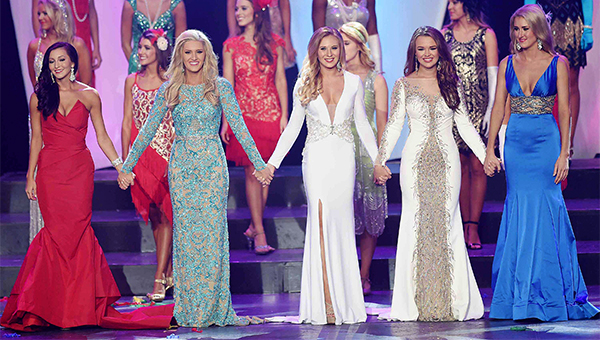 The top five competitiors in the 2015 MIss Mississippi pageant were Miss University France Beard, Miss Riverland Laura Lee Lewis, Miss University of Southern Mississippi Hannah Roberts, Miss Delta Blues Meredith Thomas and Miss Hattiesburg Ivey Swan Saturday, June 27 the final night of the Miss Mississippi Pageant at the Vicksburg Convention Center in Vicksburg, Miss.