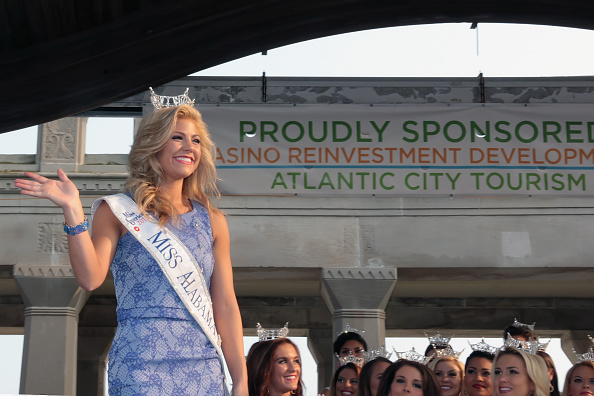 ATLANTIC CITY, NJ - SEPTEMBER 01: Meg McGuffin, Miss Alabama 2015 greets the audience at the Miss America Arrival Ceremony on September 1, 2015 in Atlantic City, New Jersey. (Photo by Donald Kravitz/Getty Images)