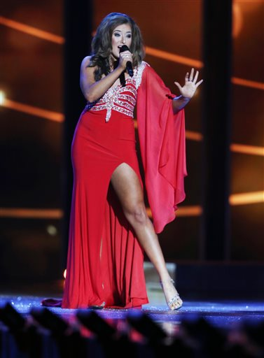 Miss Virginia Savannah Lane competes in talent competition during the third night of preliminary for the Miss America pageant at Boardwalk Hall in Atlantic City, NJ., Thursday, Sept 10, 2015. (Edward Lea/The Press of Atlantic City via AP)