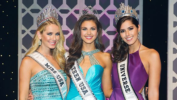Katherine Haik, Miss Teen USA 2015, poses with Olivia Jordan, Miss USA 2015 and Paulina Vega, Miss Universe 2014 following the Miss Teen USA 2015 Competition from Atlantis, Paradise Island resort in The Bahamas on Saturday, August 22, 2015. HO/ Miss Universe L.P., LLLP